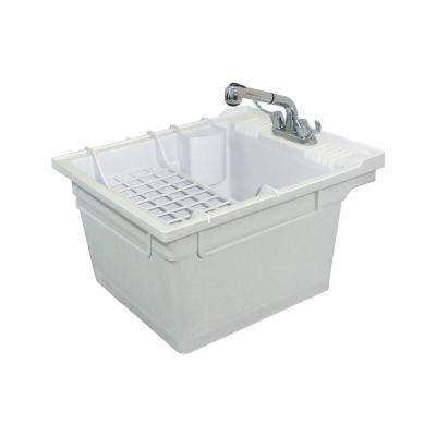 22.4 in. x 26 in. x 14 in. Polypropylene Laundry/Utility Tub, Faucet and Accessories