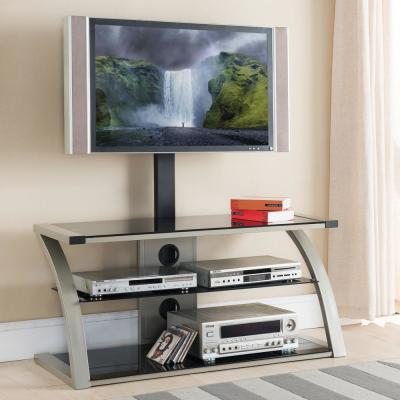 Home Source Noah Plasma TV Stand with Mount and 3 Black Glass Shelves, Chrome Frame