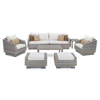 Cannes 8-Piece Patio Sofa and Club Chair Seating Group with Moroccan Cream Cushions
