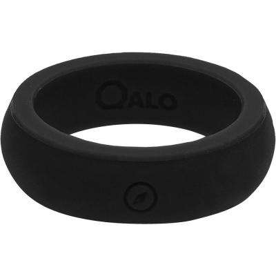 Women's Black Classic Silicone Wedding Ring with Compass