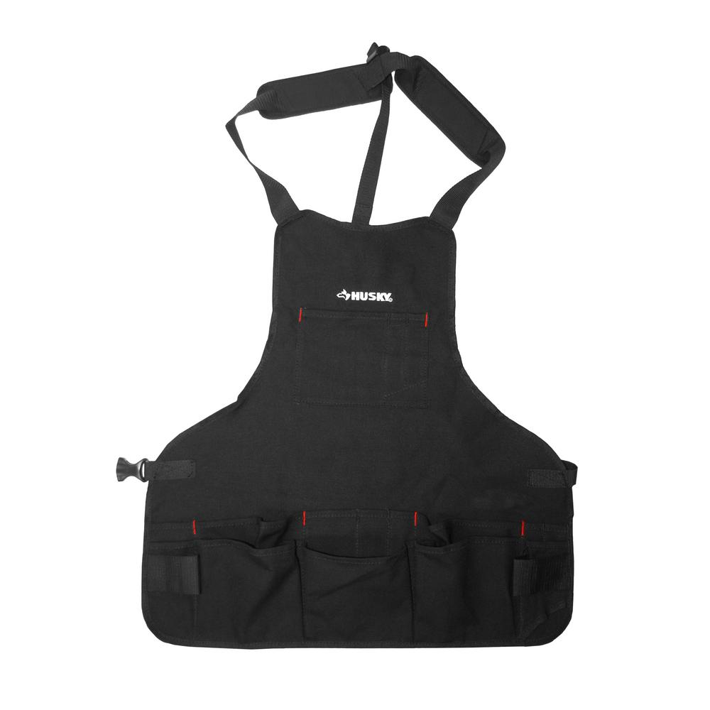 Husky 23 5 In Canvas Bib Apron Black Hd00122 The Home Depot