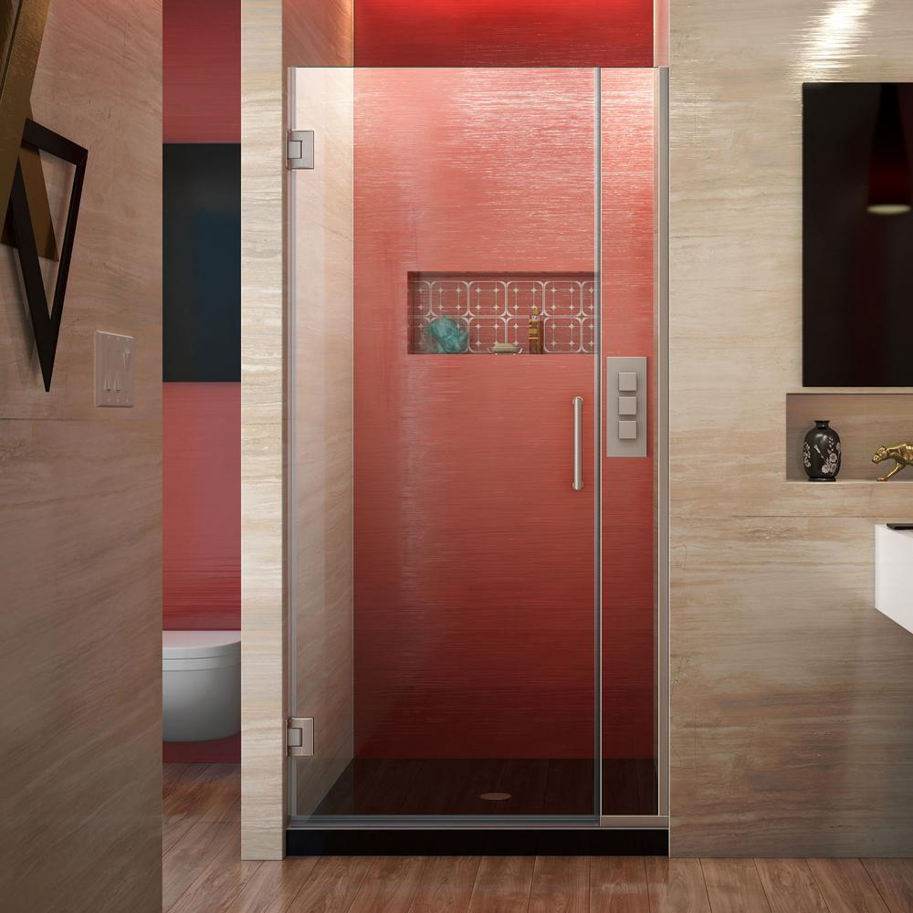 Unidoor Plus 29.5 to 30 in. x 72 in. Frameless Hinged Shower Door in Brushed Nickel