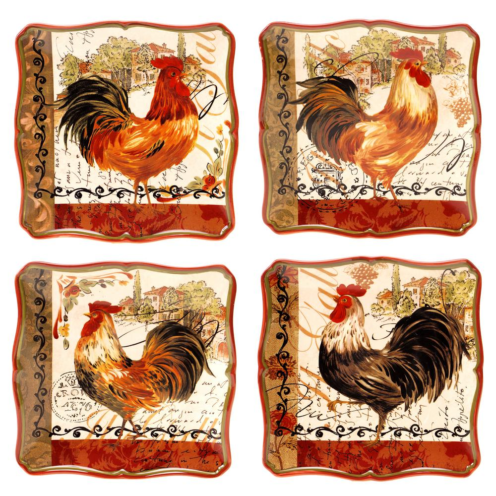 Certified Intl Tuscan Rooster 8.5 in. Salad/Dessert Plate (Set of 4)