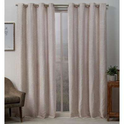 Stanton 54 in. W x 96 in. L Woven Blackout Grommet Top Curtain Panel in Blush (2 Panels)