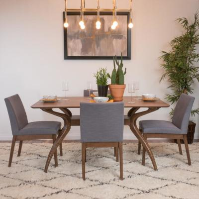 Kwame 5-Piece Dark Grey and Natural Walnut Dining Set
