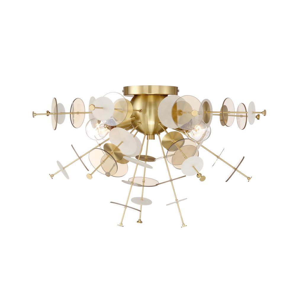 Bonazzi 4-Light Brass Flushmount