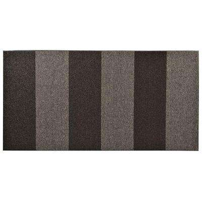 Textura Color Block Charcoal 36 in. x 96 in. Vinyl-Backed Entrance Mat