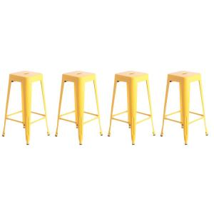 Groovy 30 In High Yellow Industrial Metal Bar Stools Set Of 4 Pabps2019 Chair Design Images Pabps2019Com