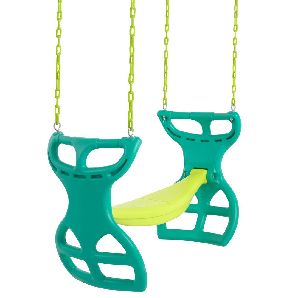 Swingan 2-Seater Glider Swing Vinyl Coated Chain Hardware For Installation Included Green Yellow