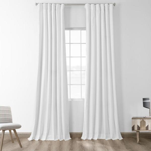 Fresh Popcorn Ivory Solid Cotton Blackout Curtain - 50 in. W x 84 in. L