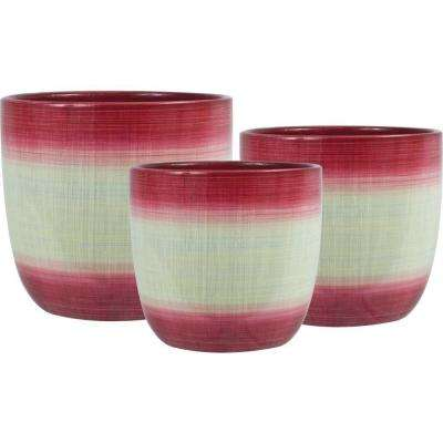 Holiday Jute 6.5 in. Dia, 5.5 in. Dia and 4.5 in. Dia Red Ceramic Pot (Set of 3)