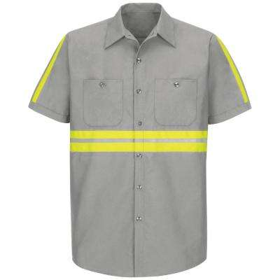 Men's Large Light Grey with Yellow/ Green Visibility Trim Enhanced Visibility Industrial Work Shirt