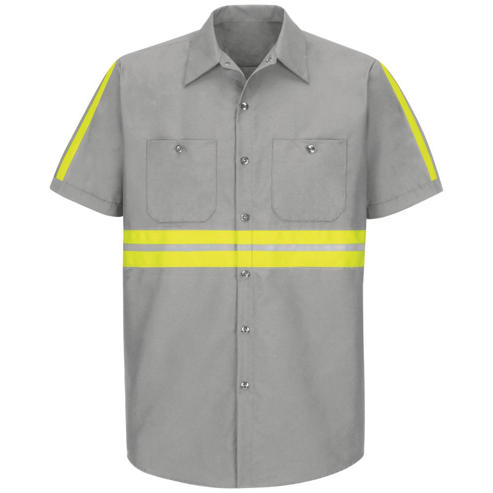 145647aa Red Kap Men's Medium Light Grey with Yellow/ Green Visibility Trim Enhanced  Visibility Industrial Work