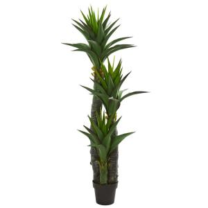 Indoor 5 ft. Decorative Yucca Artificial Tree in Black Planter