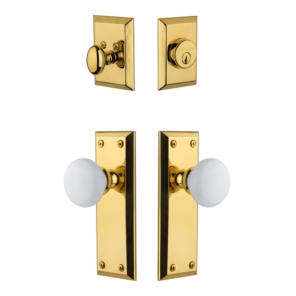 Grandeur Fifth Avenue Plate 2-3/4 in. Backset Lifetime Brass Hyde Park Porcelain Door Knob with Single Cylinder Deadbolt
