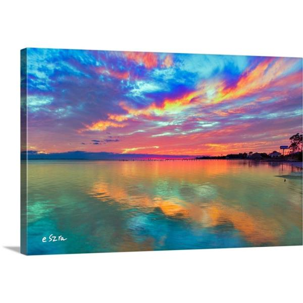 Unique sunset and red reflections Photo print canvas choose your size