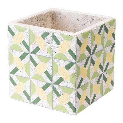 Cement Flower 6.1 in. W x 6.1 in. H Green and Yellow Ceramic Planter