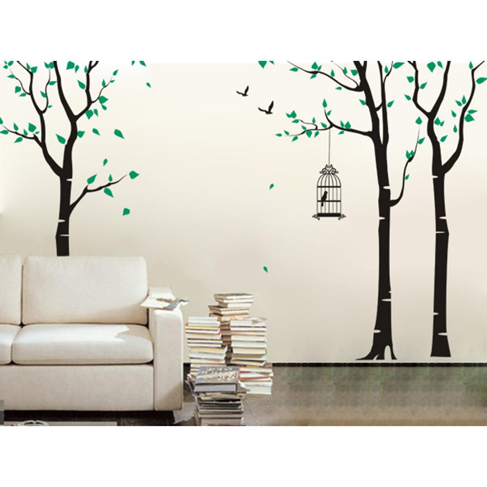 143 In X 102 In Three Birch Trees And Birdcage Removable Wall Decal