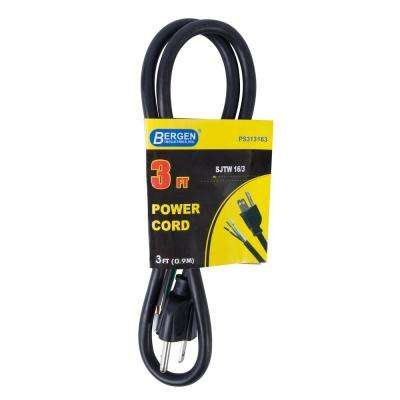 3 ft. 16/3 SJTW 3-Wire Appliance/Power Tool Cord, Black