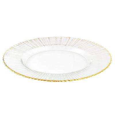 13 in. Glass Ray Charger with Gold Rim (Set of 4)