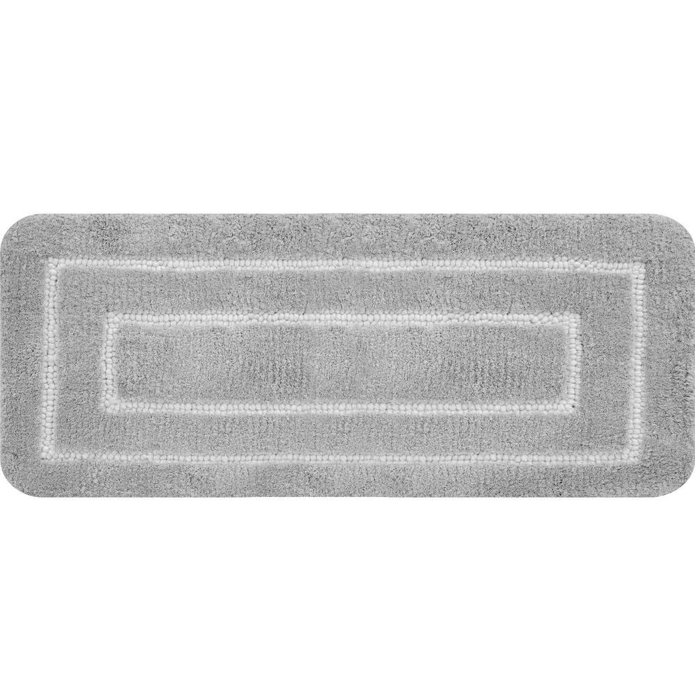 Borders Foam Gray 60 in. x 24 in. Polyester Bath Mat