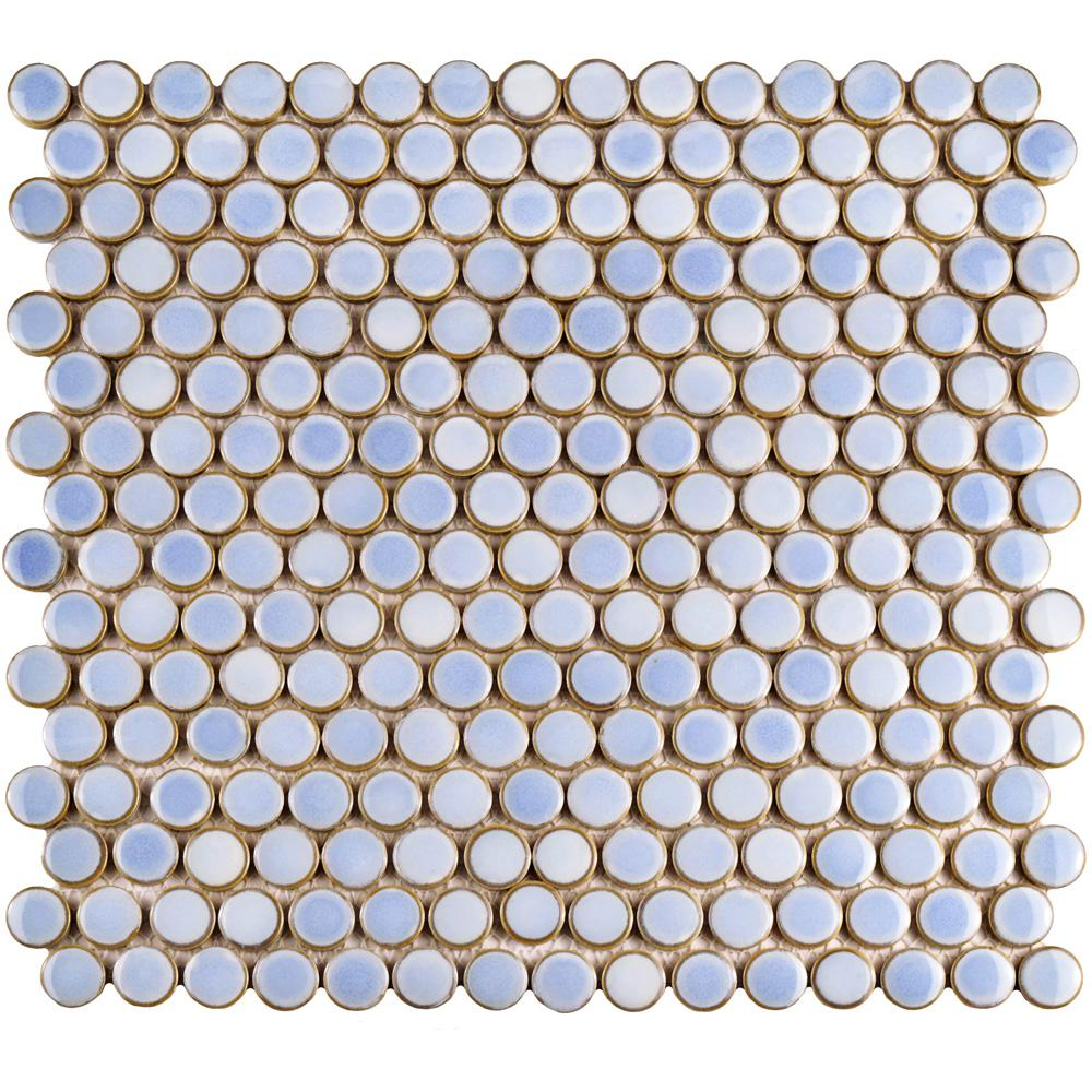 Merola Tile Hudson Penny Round Frost Blue 12 in. x 12-5/8 in. x 5 mm Porcelain Mosaic Tile