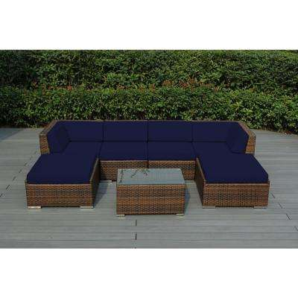 Ohana Mixed Brown 7-Piece Wicker Patio Seating Set with Sunbrella Navy Cushions