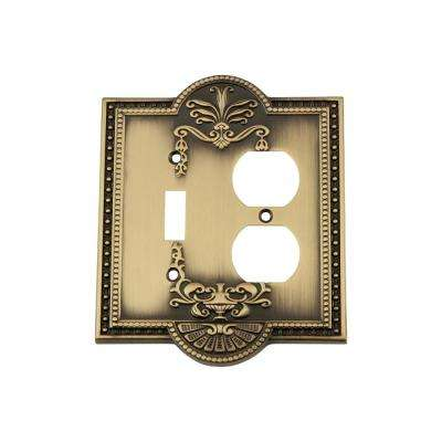 Meadows Switch Plate with Toggle and Outlet in Antique Brass