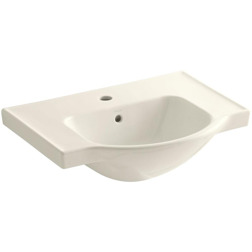 KOHLER Veer 24 in. Vitreous China Pedestal Sink Basin in Biscuit with Overflow Drain