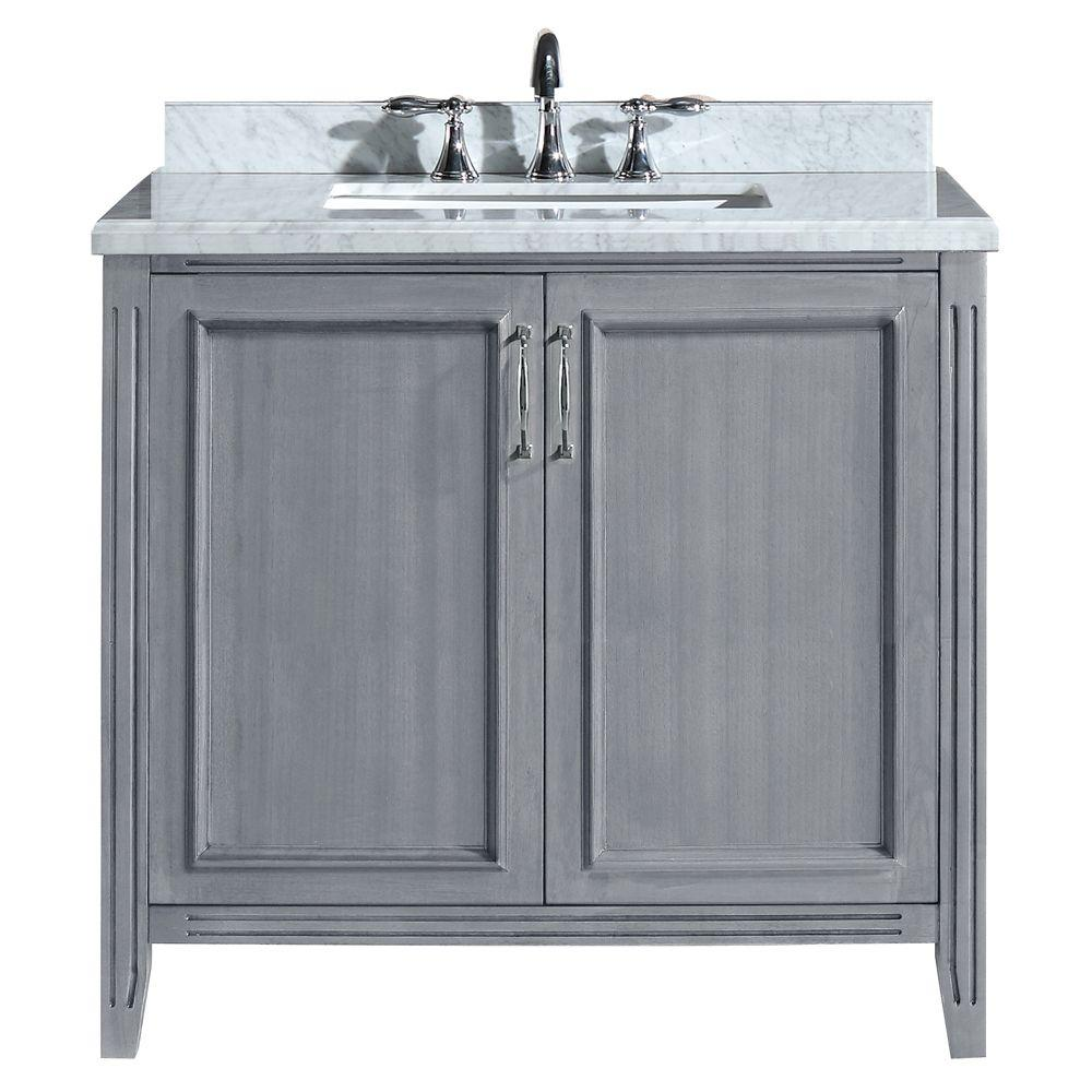 Merveilleux Vanity In Gray With Marble Vanity Top In