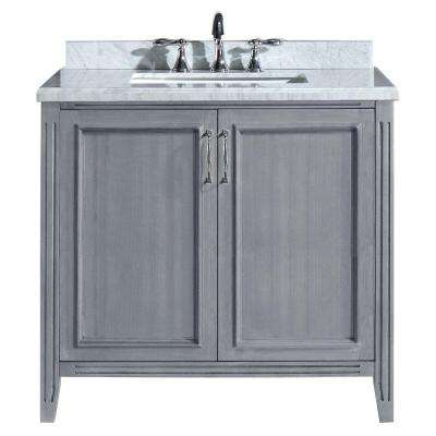 Madison 36 in. Vanity in Gray with Marble Vanity Top in Carrara White