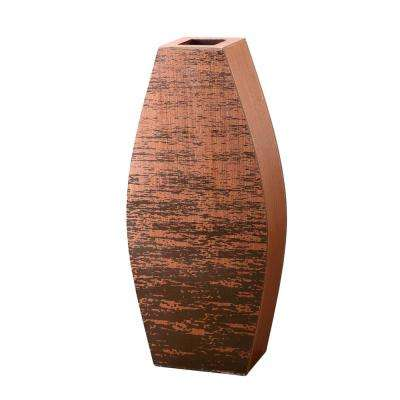 20 in. Mango Wood Cylinder Floor Vase with Rustic Scraped Bark Finish
