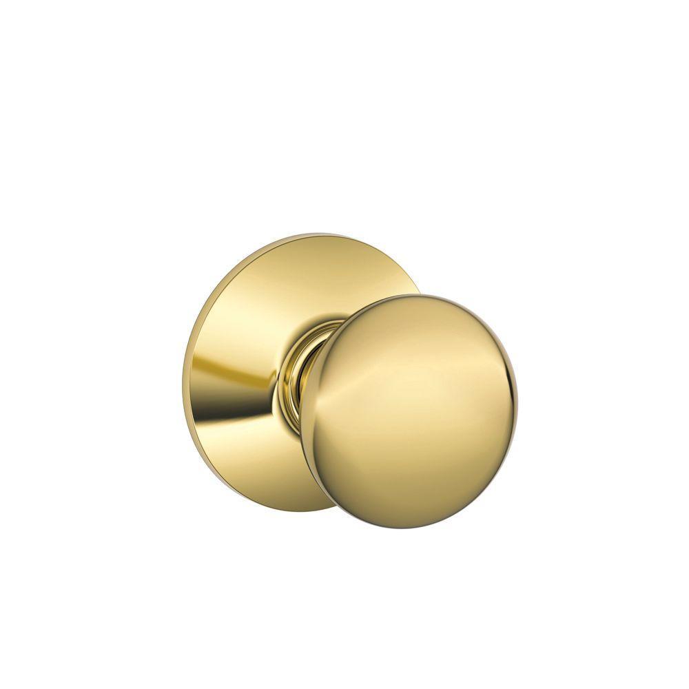 Schlage Plymouth Series Bright Brass Passage Hall/Closet Door Knob