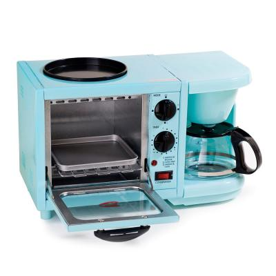 500 W 2 slice Blue Toaster Oven with Coffee Maker and Griddle