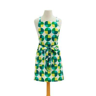 Circles Modern Print Cotton Butcher's Apron, Green
