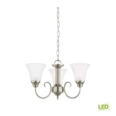 Holman 3-Light Brushed Nickel Chandelier with LED Bulbs