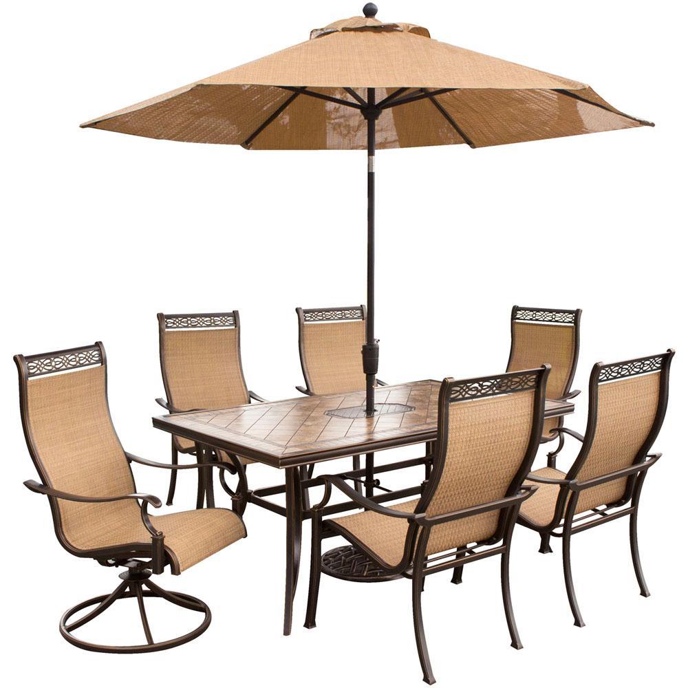 Monaco 7-Piece Rectangular Patio Dining Set and 2 Swivel Rockers, Umbrella and Base