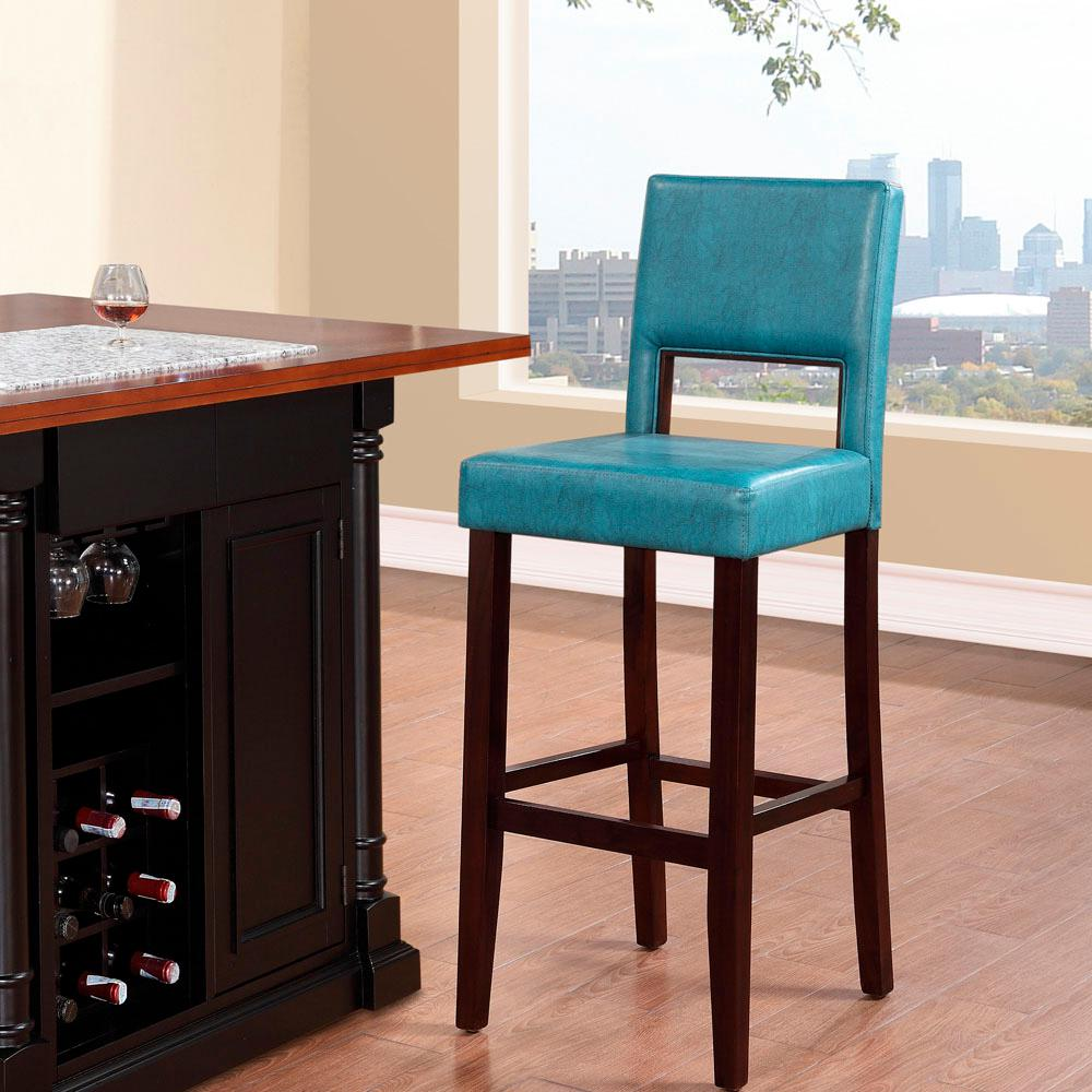 Linon Home Decor Vega 30 In Agean Blue Cushioned Bar