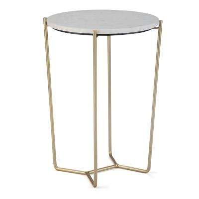 Dani Modern Industrial Round 16 in. Wide Metal Accent Accent Side Table in White, Gold