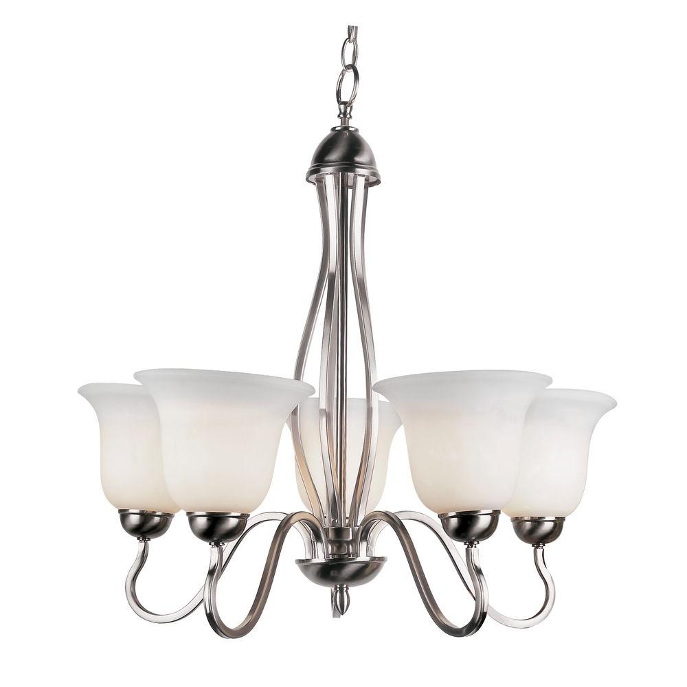 Bel Air Lighting Stewart 5-Light Brushed Nickel Chandelier with Marbleized Glass Shades