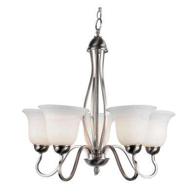 Stewart 5-Light Brushed Nickel Chandelier with Marbleized Glass Shades