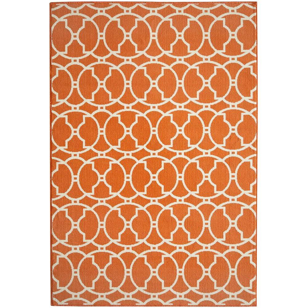 Momeni Baja Orange 6 ft. 7 in. x 9 ft. 6 in. Indoor/Outdoor Area Rug