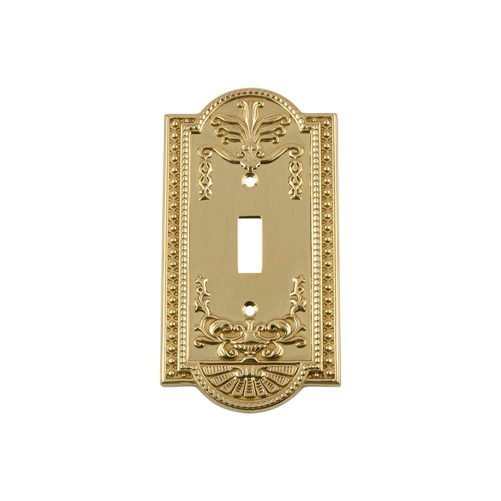 Meadows Switch Plate with Single Toggle in Unlacquered Brass