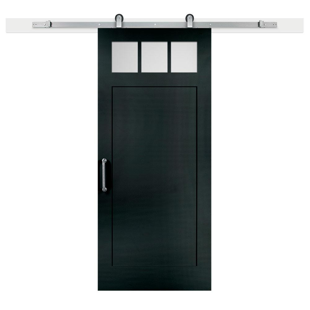 36 in. x 84 in. Knight Craftsman Privacy 3-Lite Satin Solid-Core