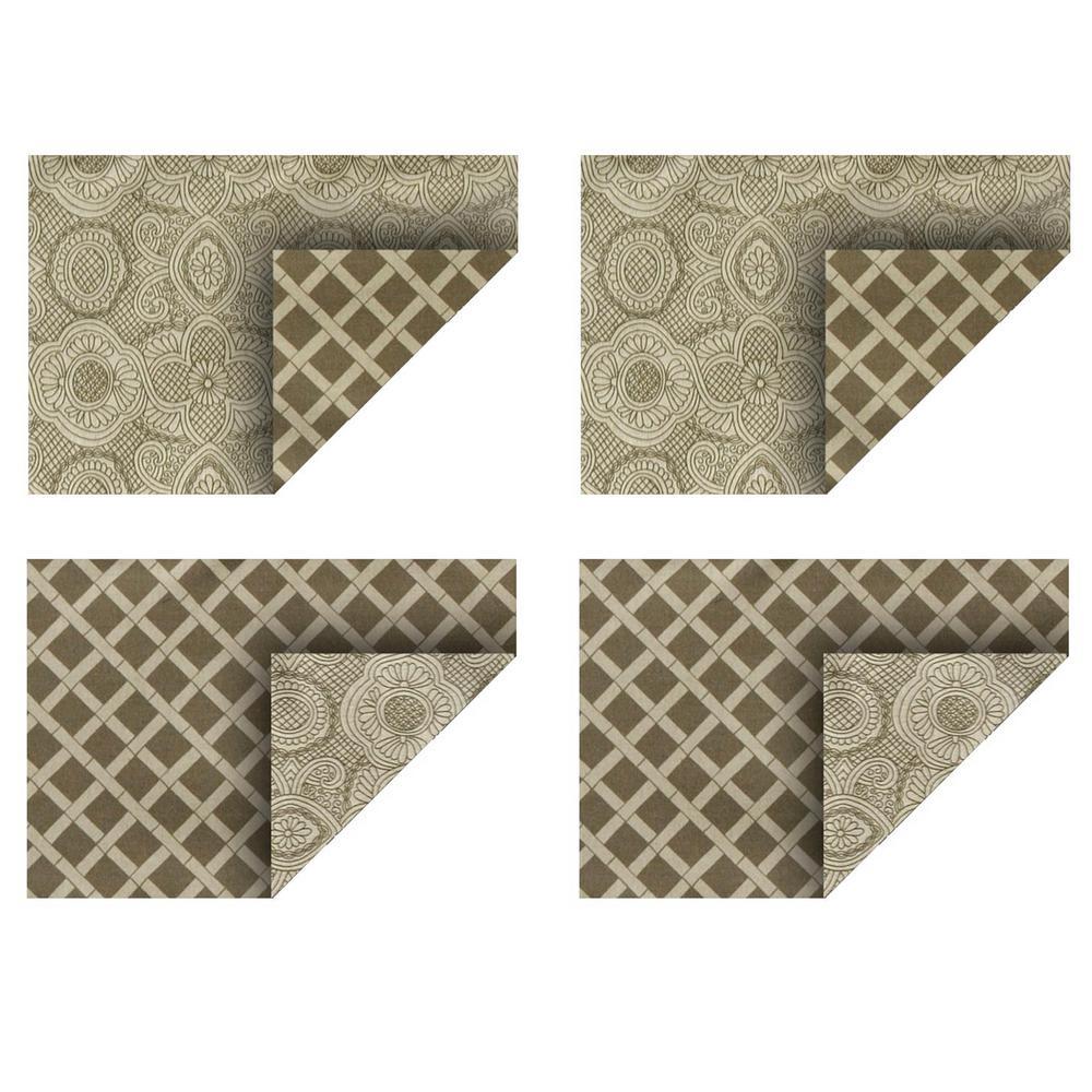 Duet 19 in. x 13 in. Beige/Cream Cotton Placemats (Set of 4)