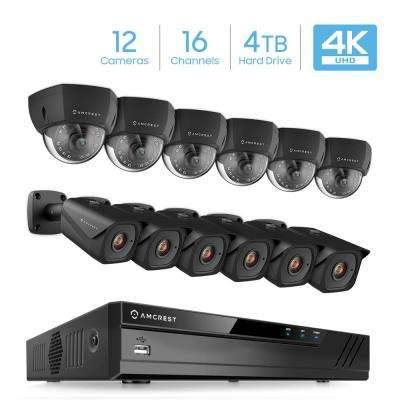 Plug & Play H.265 16-Channel 4K NVR 8MP 4TB Surveillance System with 6-Wired POE Dome and 6 Bullet 98 ft. Night Vision