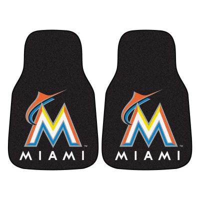 Miami Marlins 18 in. x 27 in. 2-Piece Carpeted Car Mat Set