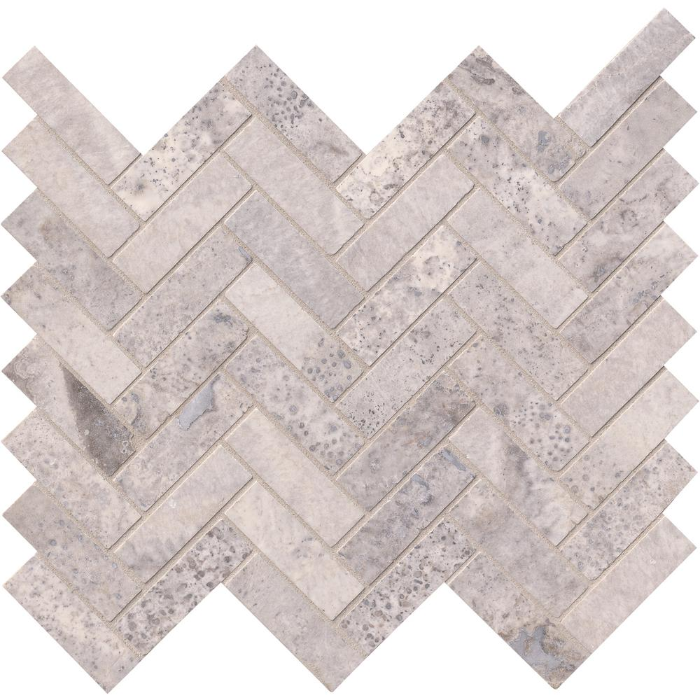 Silver Travertine Herringbone 12 In X 10 Mm