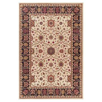 Jewel Voysey Ivory 5 ft. 3 in. x 7 ft. 7 in. Area Rug
