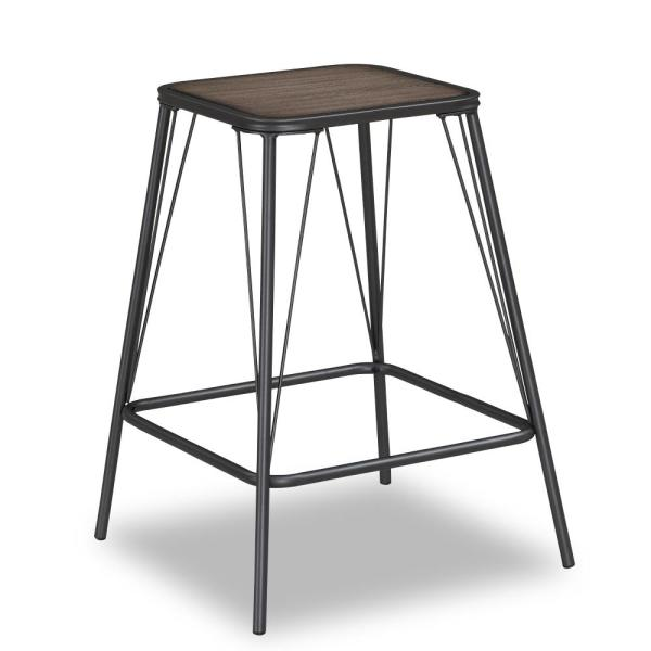 American Woodcrafters Trevan 24 in. Grey Backless Counter Stool B1-107-24W